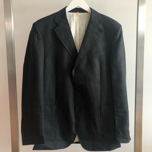 ROMEO GIGLI Men's Black Linen Blazer Jacket